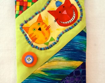 Crazy Quilt Cats Glasses Case, Applique Sunglasses Holder