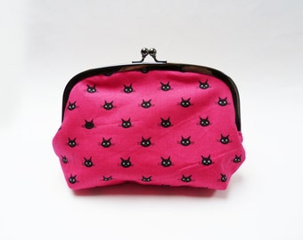 Cosmetic bag, magenta pink and black cat fabric, cotton purse
