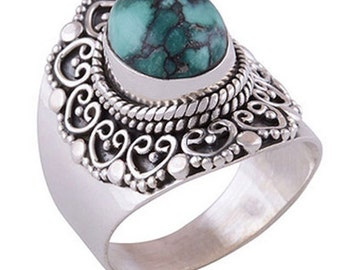 Cornelia Sterling Silver & Turquoise Ring,Filigree,Pagan,Witch,Boho,Gift,Goth,Grunge A1