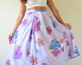 SUMMER SALE/ 30% off Vintage 60s 70s Violet Plumeria High Waisted Cotton Voile Floral Semi Circle Skirt (size xs)