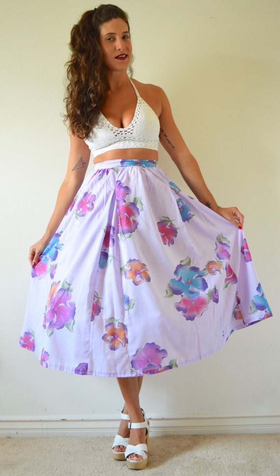 Vintage 60s 70s Violet Plumeria High Waisted Cotton Voile Floral Semi Circle Skirt (size xs)