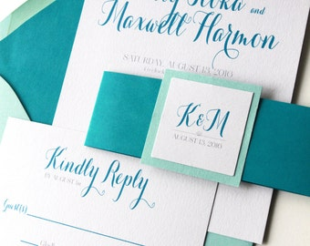 Sweet Summer Wedding Invitation, Wedding Invitations, Calligraphy Script, Wedding Invites, Aqua and Teal, Etsy Weddings, Sample Set