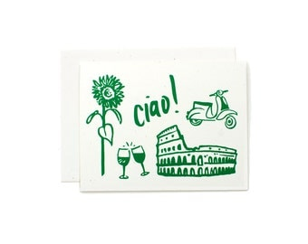 Italy Print / Italian Art / Greeting Card / Travel Card / Anytime Card / Hello Card / Green
