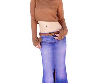 Acid Angel purple Tie dyed Upcycled denim skirt    boho chic
