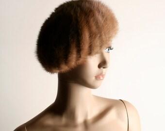 Vintage Mink Fur Hat - 1950s 1960s Large Beret Style Swirl Pattern Slouchy Hat
