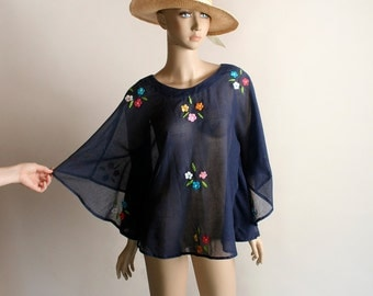 Vintage Boho Cape Blouse - Sheer Cotton Embroidered Flower 1970s Navy Blue Poncho Top