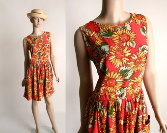 Vintage Sunflower Print Dress - 1980s Bright Spring Flower Rayon Mini Dress - Small Medium