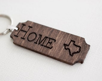 Wood Home State Keychain - Custom Engraved Wood Keychain - Personalized Keychain - Personalized Accessory