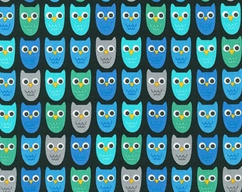 Owl Fabric, Fabric by the Yard, Boy fabric, Nature, Woodland Pals fabric  by Ann Kelle for Robert Kaufman, Owls in Adventure Blue