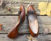 Sugar & Spice ~ Vintage 1950s Brown Leather Shoes US 8 UK 6 ~ Johansen Baby Doll Pumps