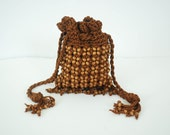 MOVING SALE Walborg 1970's Vintage Bohemian Brown Crochet and Wood Bead Fringe Purse