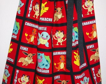 Pokemon Dress Pillowcase Dress with Pikachu Party Dress with Charizard Eevee Squirtle Red and Black baby dress toddler dress girls dress