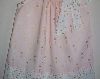 Pillowcase Dress with Flamingos, Girls Dresses, Flamingo Dress, Peach Metallic Gold, Summer Dresses, baby dresses toddler dreses Beach Party