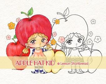 Digital Stamp Apple Hat Kid, Digi Download Fruits Fairy, Cute Fantasy Girl Children, Coloring Page, Clip Art, Scrapbooking Supplies