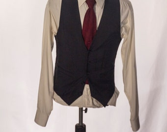 Men's Suit Vest / Vintage Navy Blue Pinstripe Waistcoat / Size 36 / Small - Medium