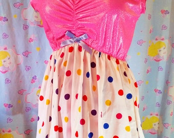 SALE Holographic dress, polka dot, 50s party babydoll nightie fairy kei size XL extra large