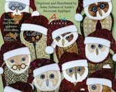 Santa Owls -- Applique in the Hoop for Embroidery Machines -- Digitized Designs on CD