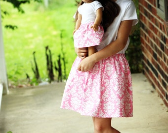 Size 7 SAMPLE SALE - Matching Girl and Doll Clothes - Fits American Girl Doll - Twirl Skirts in Pink Dandy Damask