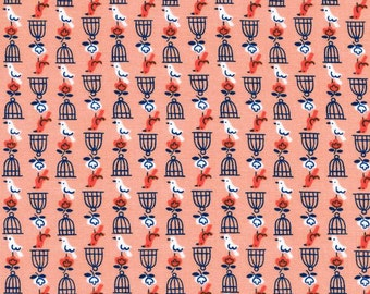 Cotton + Steel Rotary Club Birds and Cages Peach 100% Cotton Fabric