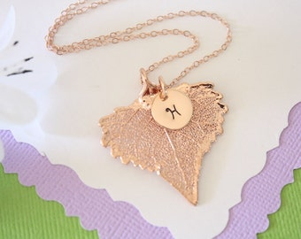 Personalized Necklace Rose Gold Leaf Initial, Real Leaf, Charm, Monogram, Initial Jewelry, Bridesmaid Gift, Choose your Leaf, Christmas Gift