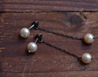 Double Pearl Stud Earrings - Creamy White Japanese Akoya Pearl Earrings - Oxidized Sterling Silver Dangle Earrings - Pearl Drop Earrings