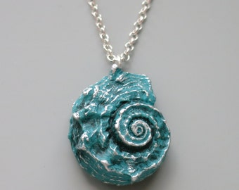Seashell Pendant Necklace, Polymer Clay, Aqua Blue and Silver