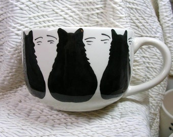Black Cat Trio Jumbo Soup or Latte Mug In Stock & Ready To Ship Handmade Earthenware Ceramic by GMS