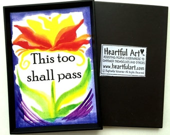 THIS Too Shall Pass Magnet Spiritual Meditation Poster Inspirational Faith Trust Catholic Religious Quote Heartful Art by Raphaella Vaisseau