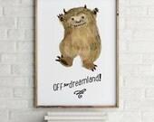 Quote Off to dreamland,  Monster dreamland - Holli - Nursery Wall Art - Nursery Decor - Childrens Art - Kids Wall Art - Nursery Art