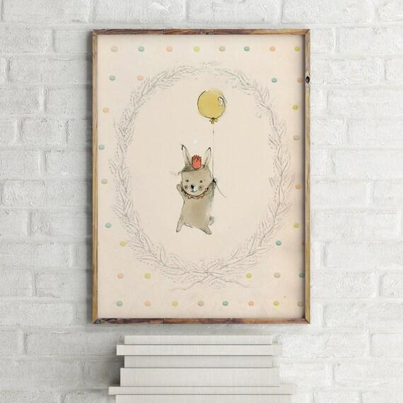Happy Birthday I - Animal Art - Holli - Nursery Wall Art - Nursery Decor - Childrens Art - Kids Wall Art - Nursery Art