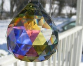 Asfour CRYSTAL faceted leaded glass 30mm ~ PRISM Aurora Borealis finish ~ suncatcher XMAS ornament Feng Shui window dangle