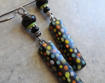 Polka Dot Party ...  Artisan-Made Ceramic, Lampwork and Sterling Silver Wire-Wrapped Bright, Boho, Festive Earrings