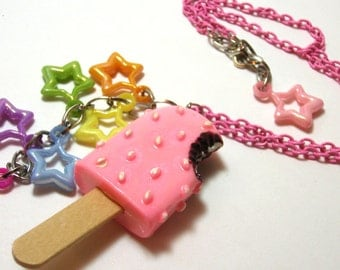 Pink Popsicle Necklace - Ice cream bar necklace with rainbow stars and real popsicle stick on pink chain - Kandi Raver Fairy Kei Necklace