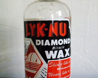 Vintage Bottle Lyk-Nu Diamond Miracle Wax Car Polish Awesome Graphics Automobile