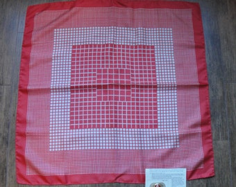 Vintage brick red and cream color silk 26 inch square scarf, Design of various size squares, Made in Italy 1950s, Bonus magnetic back brooch