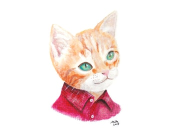 Cat Print Cat Illustration Print Orange Tabby Cat Painting Print Cat Wall Art Print Cat Home Decor Ginger Tabby Kitten in Red Shirt Cute Cat