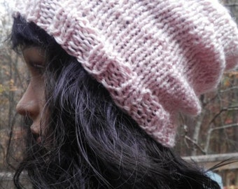 REDUCED Slouchy Beanie Pink Alpaca Blend Yarn Hand Knit READY to SHIP