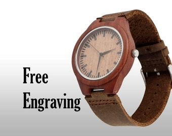Engraved Watch, Wood Watch, Engraved Wood Watch, Wooden Watch, Red Wood and Brown Leather Strap, Customized, Personalized Gift