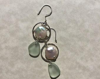 Sea Glass Earrings -Moon Tide - Hoop Coin Pearl Sea Foam Seaglass Jewelry