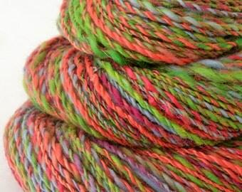Handspun Yarn -  Spindle Spun Merino Bamboo Yarn - Art Yarn- 1.8oz, 140yd, 16WPI