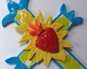 original ceramic Cross Crucifix with sacred heart, ex voto heart Mexican folkart, colorful pottery