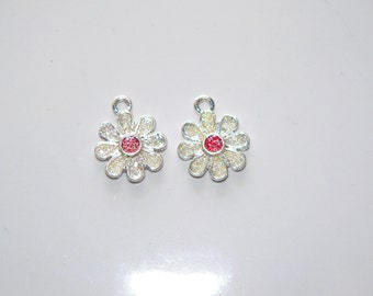 Flower Charm, Silver Tone with Pink Sparkle Center, Jewelry Supply