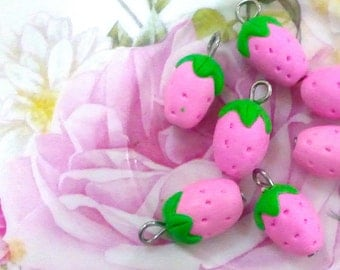 6pcs Strawberry Charms - Pink