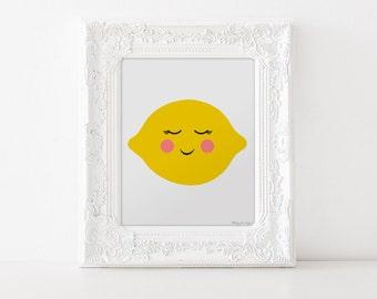 Nursery Art Print, Fruit Nursery Art Print, Lemon Art Print, Fruit Wall Decor, Nursery Wall Art, Kitchen Wall Art, Lemon Digital Art Print