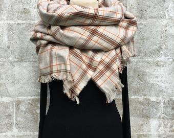 Flannel Blanket Scarf with Fringed Edges- Cotton- Plaid- Handmade