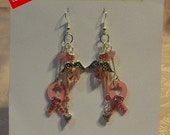 On Sale...  Recently reduced Adorable Pink Angel,Breast Cancer,Crystal Awareness Ribbon Earrings