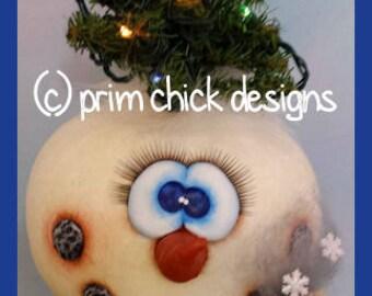 hand painted snowman gourd nodder winter christmas battery tree lights corn cob pipe snowflakes prim chick lisa robinson teamhaha ofg