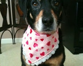 Valentine Large Dog Bandana Pink Hearts and Lace With Solid Red Lining