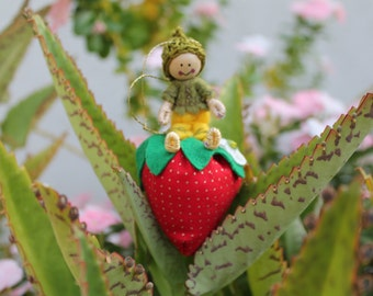 Felt Art Doll, Little Pixies Playing in the Strawberry Patch