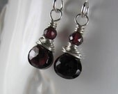 January Birthstone ~ Gemstone Earrings ~ Petite Rhodolite Garnet Earrings ~ Briolette Earrings